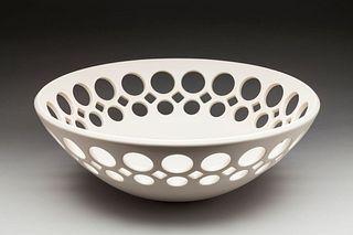 White Demi-Pierced Round Bowl