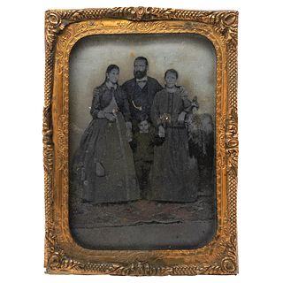 """UNIDENTIFIED PHOTOGRAPHER, Family Portrait, Unsigned Tintype, 4.3 x 3.1"""" in metal case with frame USD $360-$450"""