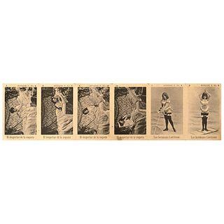 """PESQUERA SUCESORES, Unsigned, Vintage print, 2.5 x 10.4"""" (6.5 x 26.5 cm), El despertar de la coqueta y Las hermanas Larrisson, Unsigned"""