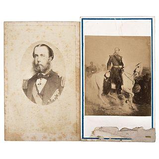 UNIDENTIFIED PHOTOGRAPHER, Maximiliano de gala y Maximiliano a caballo, Unsigned Cartes de visite, Varying sizes USD $110-$270