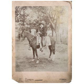 "RAMÓN BARREIRO, Jinete Charro, Puebla, 1898, Unsigned Albumen on cardboard, 11.8 x 8.6"" USD $230-$450"