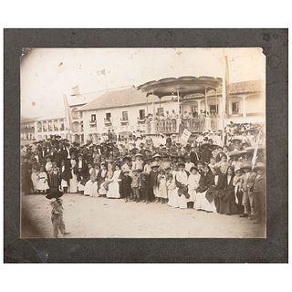 """UNIDENTIFIED PHOTOGRAPHER, Centenario de la Independencia en La Independencia, 1910, Unsigned Albumen on cardboard, 9.8 x 11.6"""" image"""