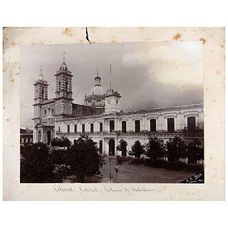 "R. R. RIVERA, Catedral y Palacio de Gobierno, Colima, Signed from negative Albumen on cardboard, 6.2 x 8.1"" image size 8 x 10"" with sup"