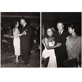 """UNIDENTIFIED PHOTOGRAPHER, Diego Rivera y Rina Lazo, 1950, Unsigned Vintage prints, 7 x 5.1""""each"""