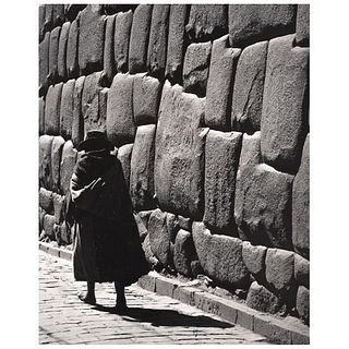 "LÁZARO BLANCO, Escena en Cusco, Signed on back Gelatin silver print on cardboard, 5 x 6.9"" USD $1,000-$1,360 9.6 x 7.6"" 9.6 x 7.6"""