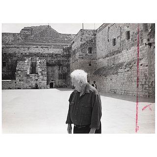 """MATHÍAS GOERITZ, Alexander Calder en la Iglesia de la Natividad en Jerusalén, Israel, Unsigned Gelatin silver print, 5 x 6.9"""" USD $730-"""