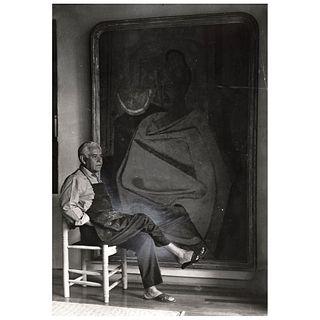 """LOLA ÁLVAREZ BRAVO, Rufino Tamayo sentado ante retrato de Olga, Signed on back Gelatin silver print, 10 x 8"""" USD $1,450-$1,820 6.8 x 5."""