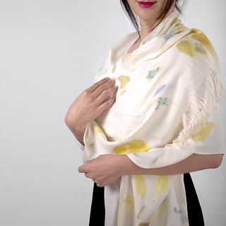 Raw silk shawl eco-printed: Ivory and green eucalyptus