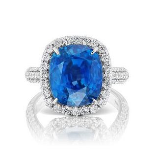 UNHEATED BURMA BLUE SAPPHIRE RING WITH DIAMONDS