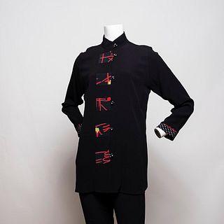 Swing Jacket in Black/ Asian Geometric