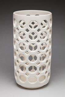 Pierced White Cylindrical Vase/Vessel