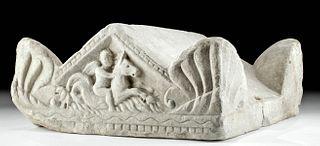 Roman Marble Cinerarium Lid - Cupid Riding Hippocamp