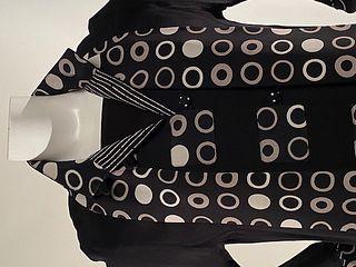 Black Swing Jacket with Geometric Trim