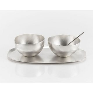 Petite Sugar Bowl, Creamer, Spoon, Tray Set Sterling Silver