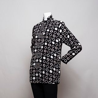 Tunic top in Black/ Taupe/ Stone