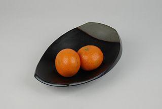 Rectangular Scoop Bowl, black and grey