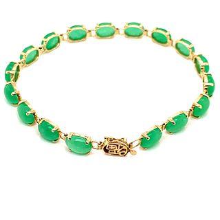 Jade Jadeite Apple Green 14K BraceletÊ