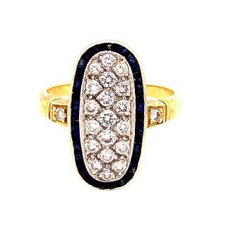 Art Deco 18K & Platinum Diamond & Sapphire RingÊ