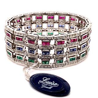 LUISE 18k Rubies, Sapphire, Emerald & Diamond BraceletÊ