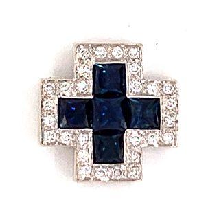 14k Diamond Sapphire CrossÊ