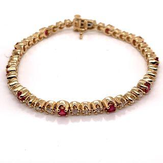 Diamond Rubies Tennis BraceletÊ