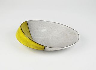 Oval Scoop Bowl, white and yellow