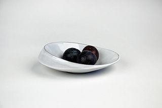 Oval Scoop Bowl, white glaze