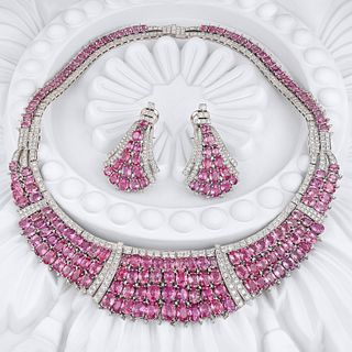 Fine Pink Sapphire and Diamond Necklace and Earrings Set