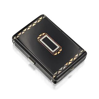 Cartier Art Deco Enamel and Diamond Compact