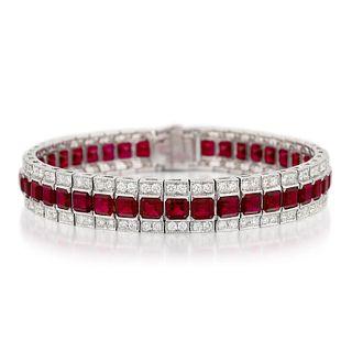 Very Fine Burmese Ruby and Diamond Bracelet
