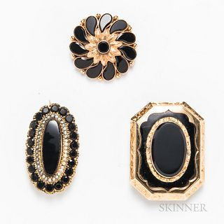 Three Victorian Gold and Onyx Mourning Brooches