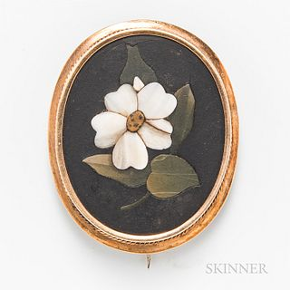 Antique Gold and Pietra Dura Brooch