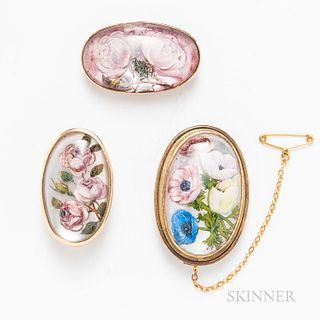 Three 14kt Gold Reverse-painted Crystal Brooches