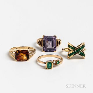 Four Gold Gem-set Rings