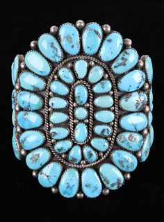 Navajo D.K. Lister Morenci Turquoise Sterling Cuff