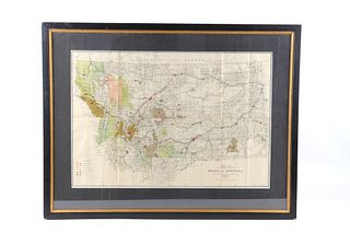 1911 Framed Montana Hydro & Fuel Power Plants Map