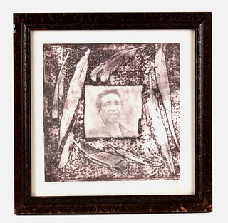 L.L. Lunde Kevin Red Star Portrait Framed Etching
