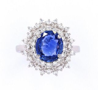 RARE Unheated Cornflower Blue Sapphire Ring w/ GIA