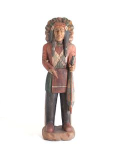 Large Cigar Store Indian Carved Wood