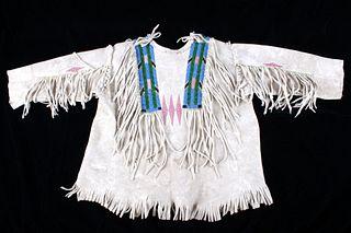 Plateau Indian Beaded Boy's First War Shirt 1890's