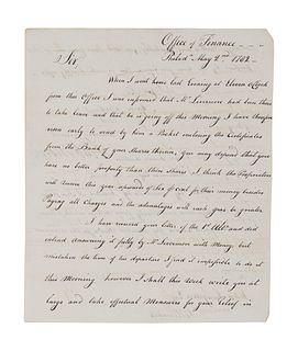"""MORRIS, Robert (1734-1806), as U. S. Superintendent of Finance. Letter signed ( """"Rob 't Morris""""), to John Langdon. Office of Finance, Philadelphia, 2"""