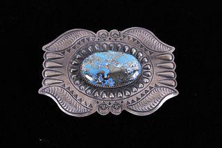 Navajo Persian Turquoise Sterling Belt Buckle