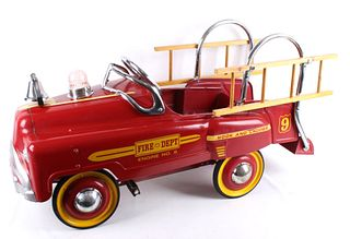 Fire Dept No 9 Hook & Ladder Pedal Car C. 1950's