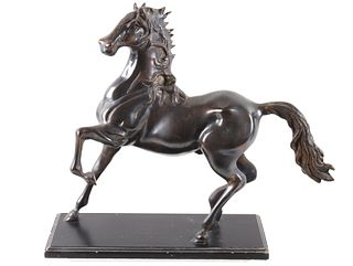 Brass Trotting Horse Sculpture & Base