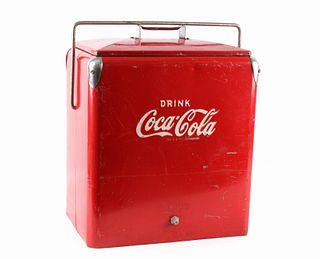 Vintage Coca Cola Metal Picnic Cooler c. 1950's