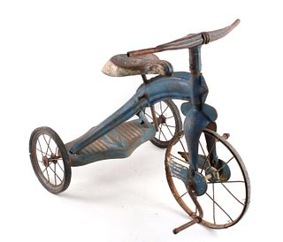 Mid 1900's Blue Painted Steel Toy Tricycle