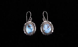 Navajo Golden Hills Torquiose Sterling Earrings