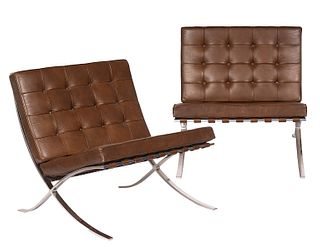 Pair of Knoll Barcelona Leather Chairs