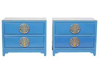 Pr of Blue Lacquered Side Tables w/ Brass Hardware