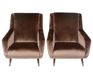Pair of Italian Velvet Uphostered Armchairs
